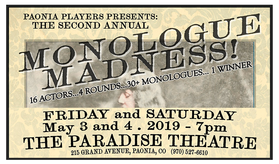 Monologue Madness - Paradise Theatre - May 3-4